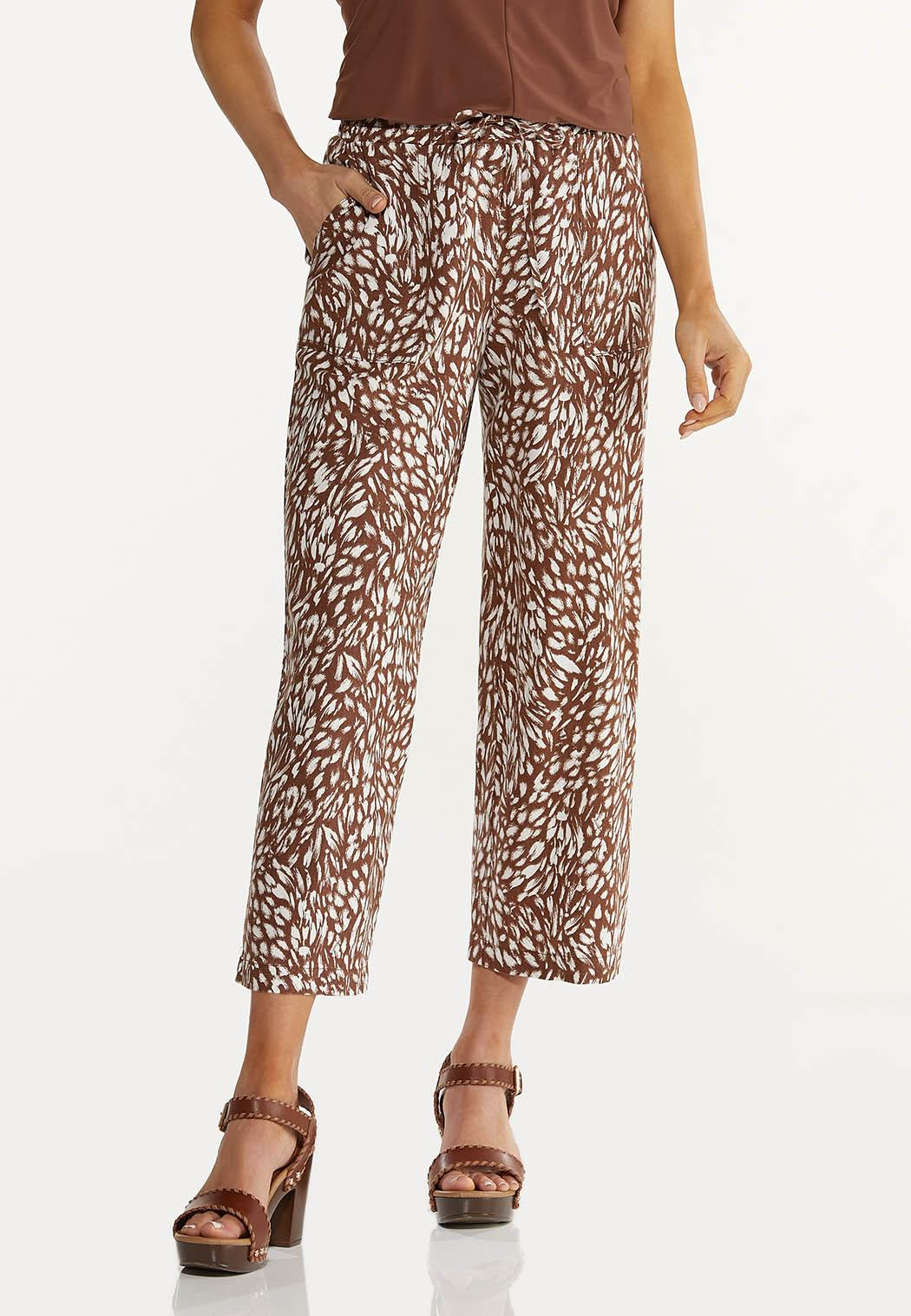 Cropped Brush Stroke Linen Pants