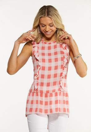 Coral Gingham Top