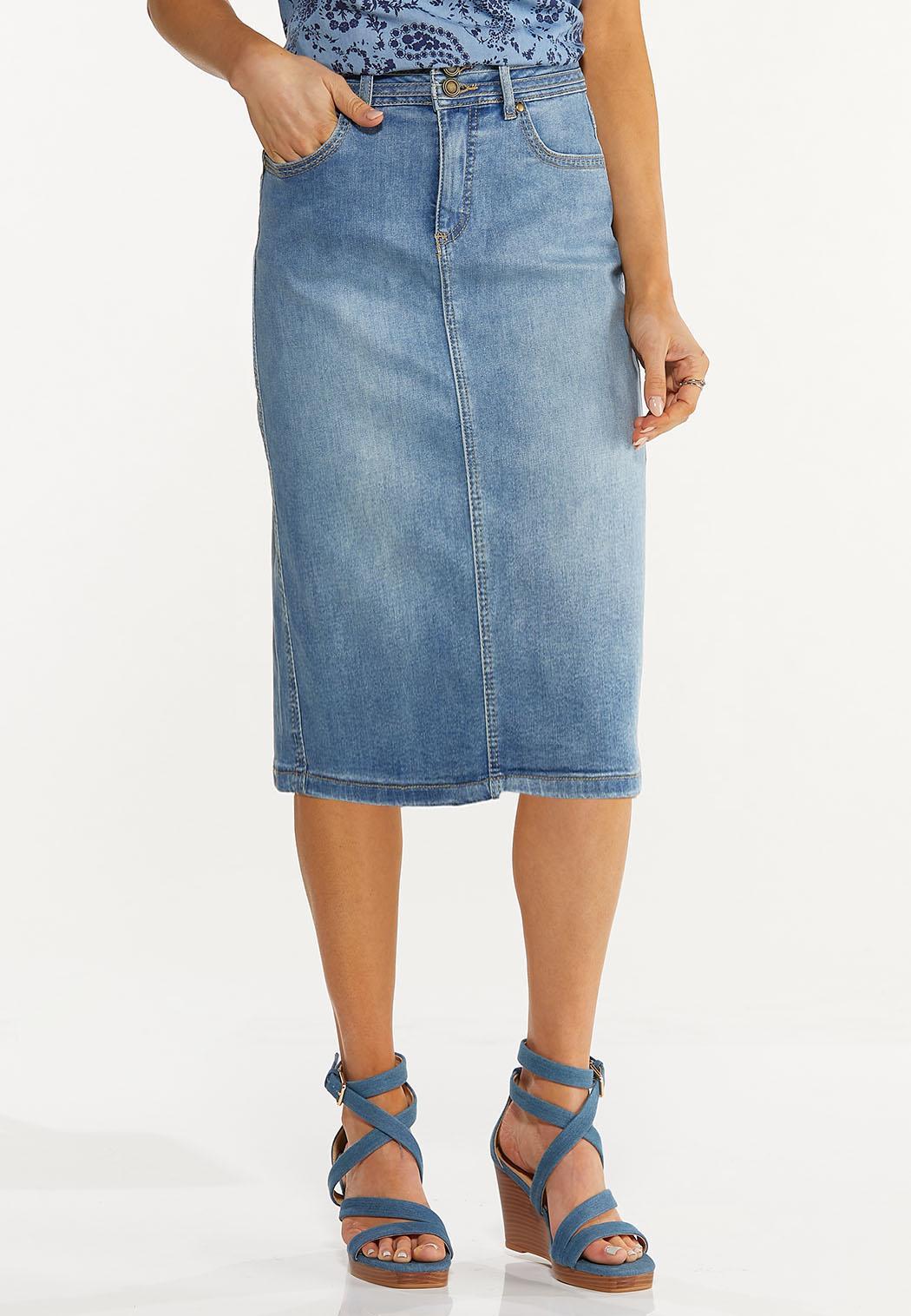Plus Size Stretch Denim Skirt