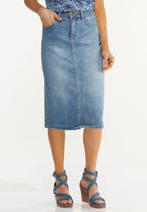 Plus Size Stretch Denim Skirt