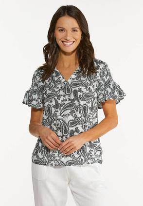 Plus Size Paisley Smocked Sleeve Top