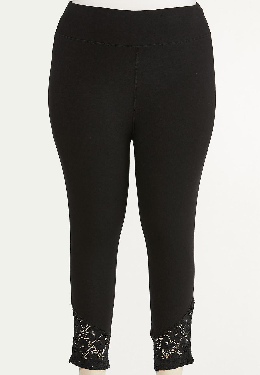 Plus Size Cropped Lace Hem Leggings