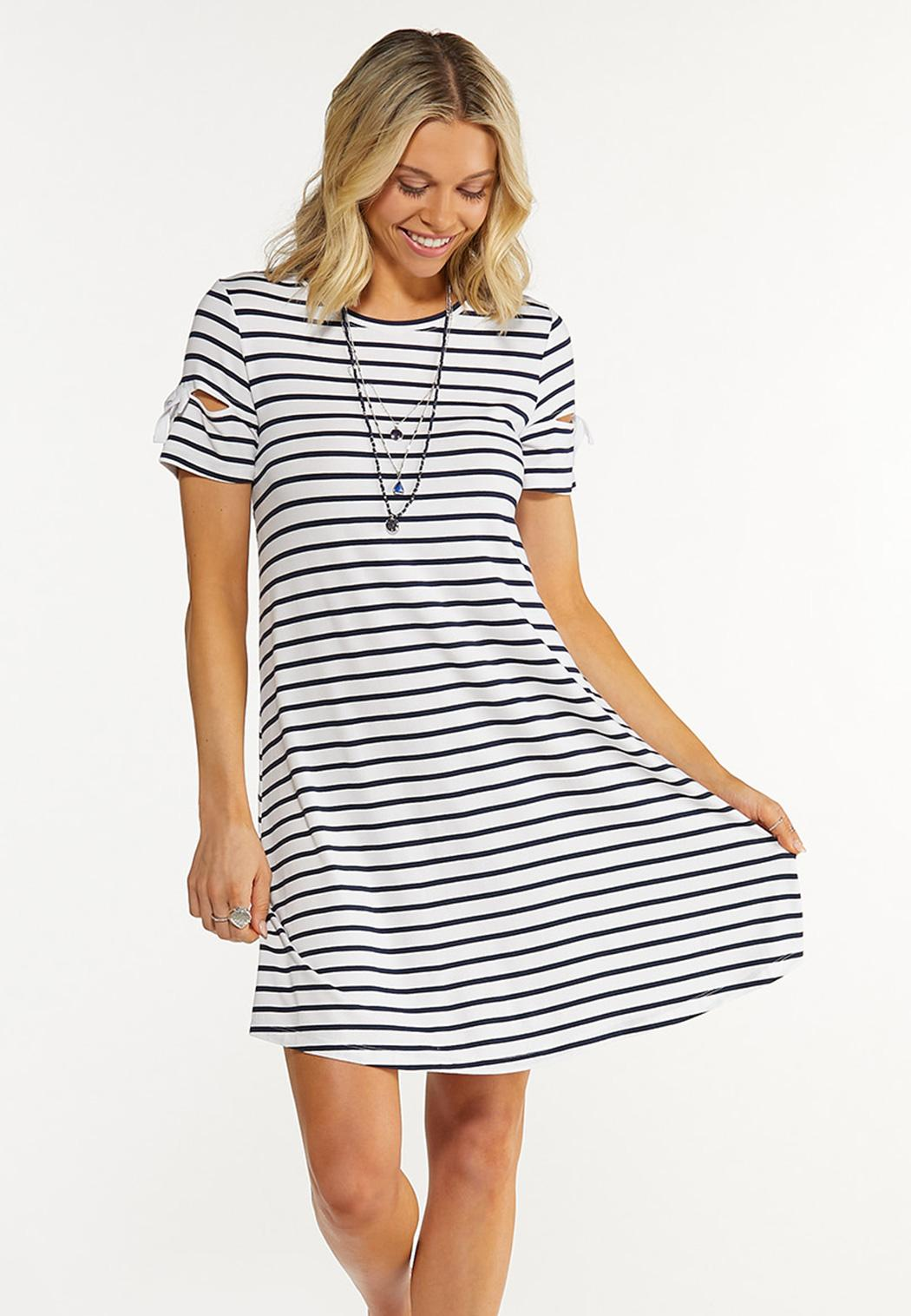 Plus Size Striped Tie Sleeve Dress