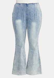 Plus Size Acid Wash High Rise Jeans
