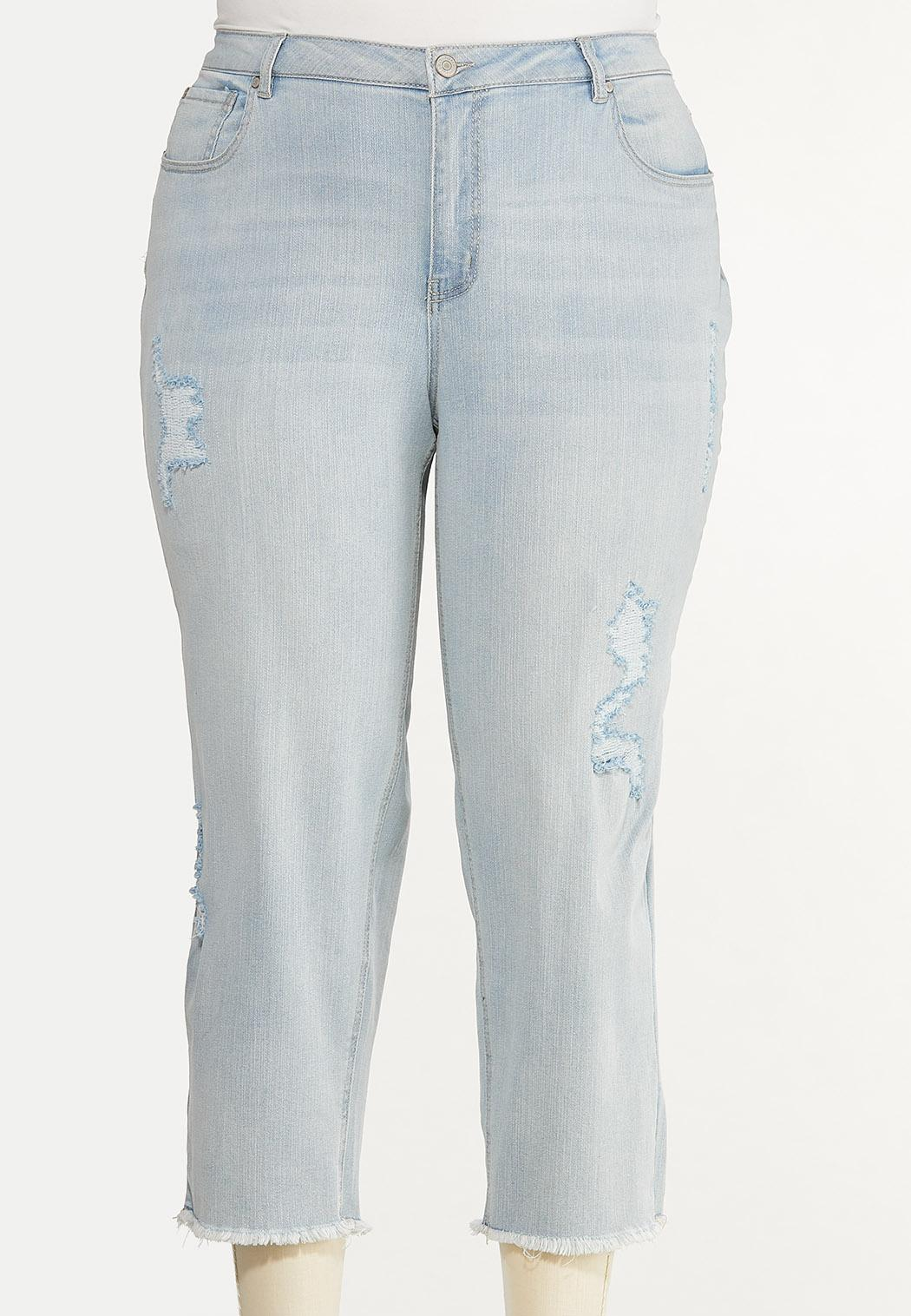 Plus Size Distressed Lightwash Jeans