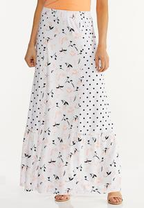Plus Size Peach Floral Maxi Skirt