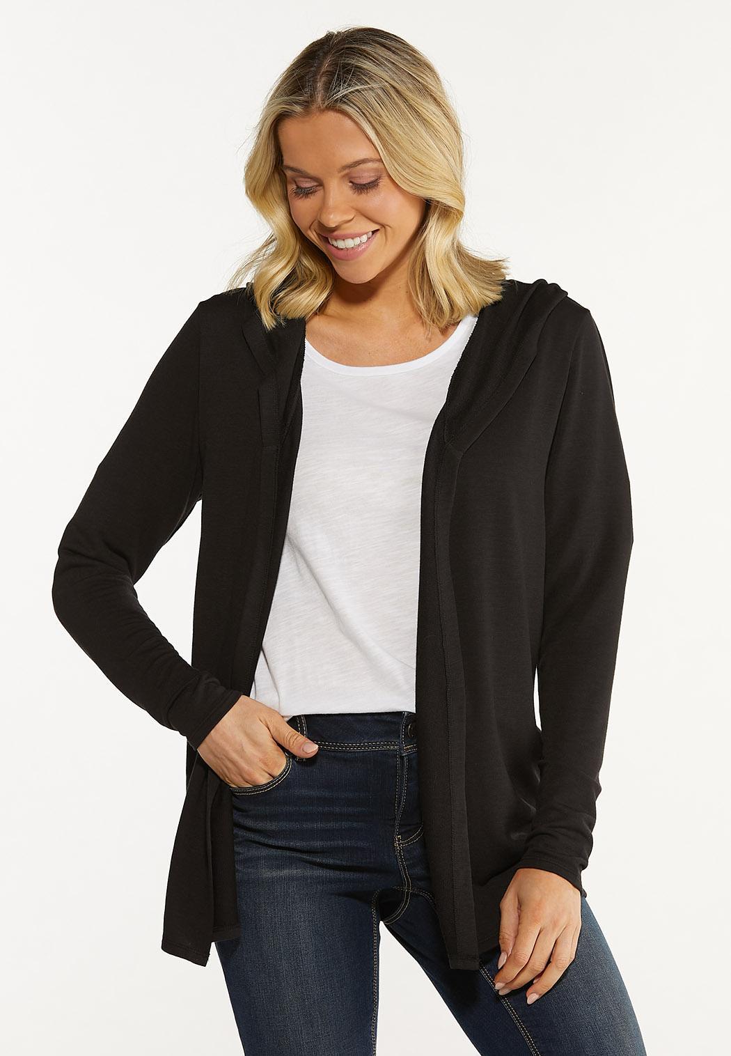 Plus Size Flyaway Hooded Cardigan