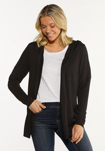 Plus Size Flyaway Hooded Cardigan