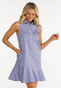 Plus Size Gingham Shirt Dress