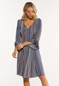 Plus Size Stripe Ruffled Sleeve Dress