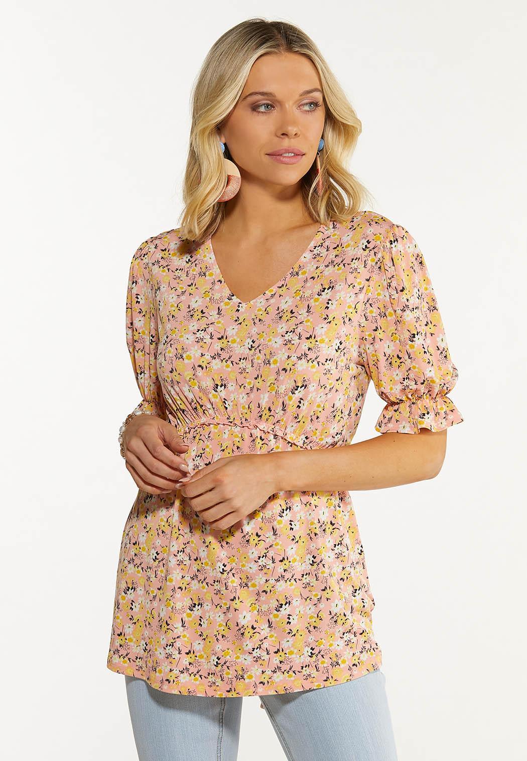 Plus Size Peach Floral Babydoll Tunic
