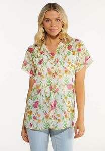 Plus Size Sheer Floral Top