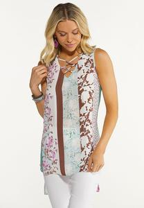 Plus Size Floral Stripe Tunic