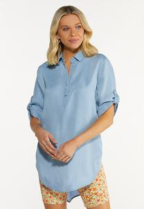 Plus Size Chambray Pullover Top