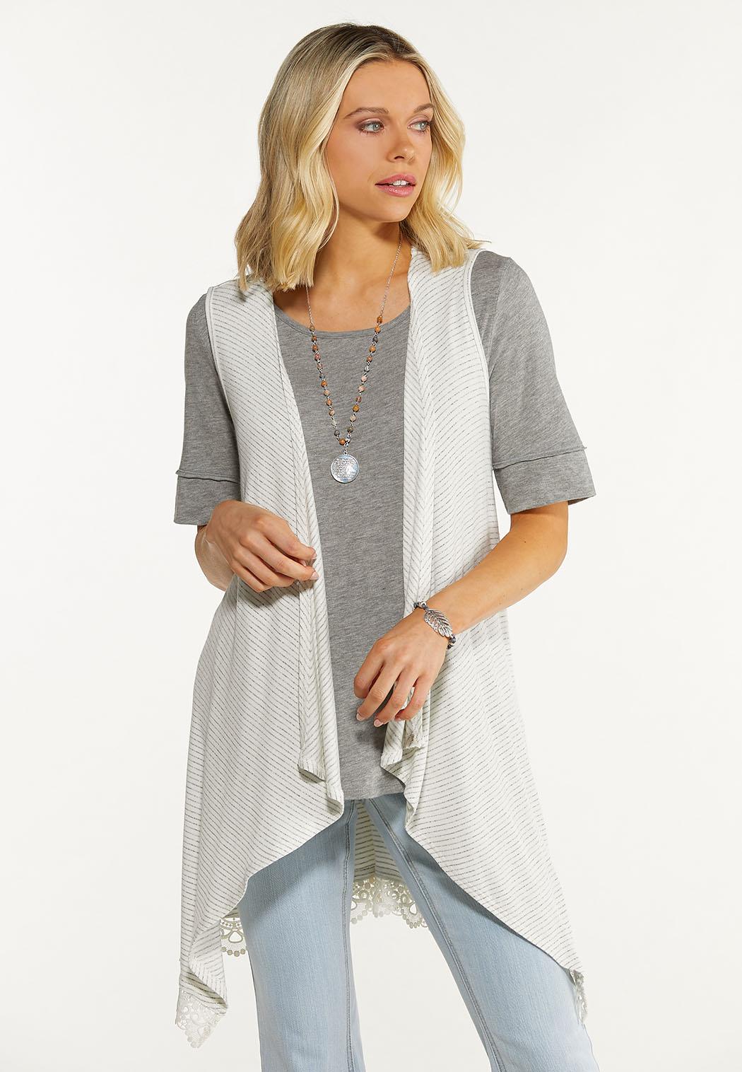 Striped Lace Trim Vest