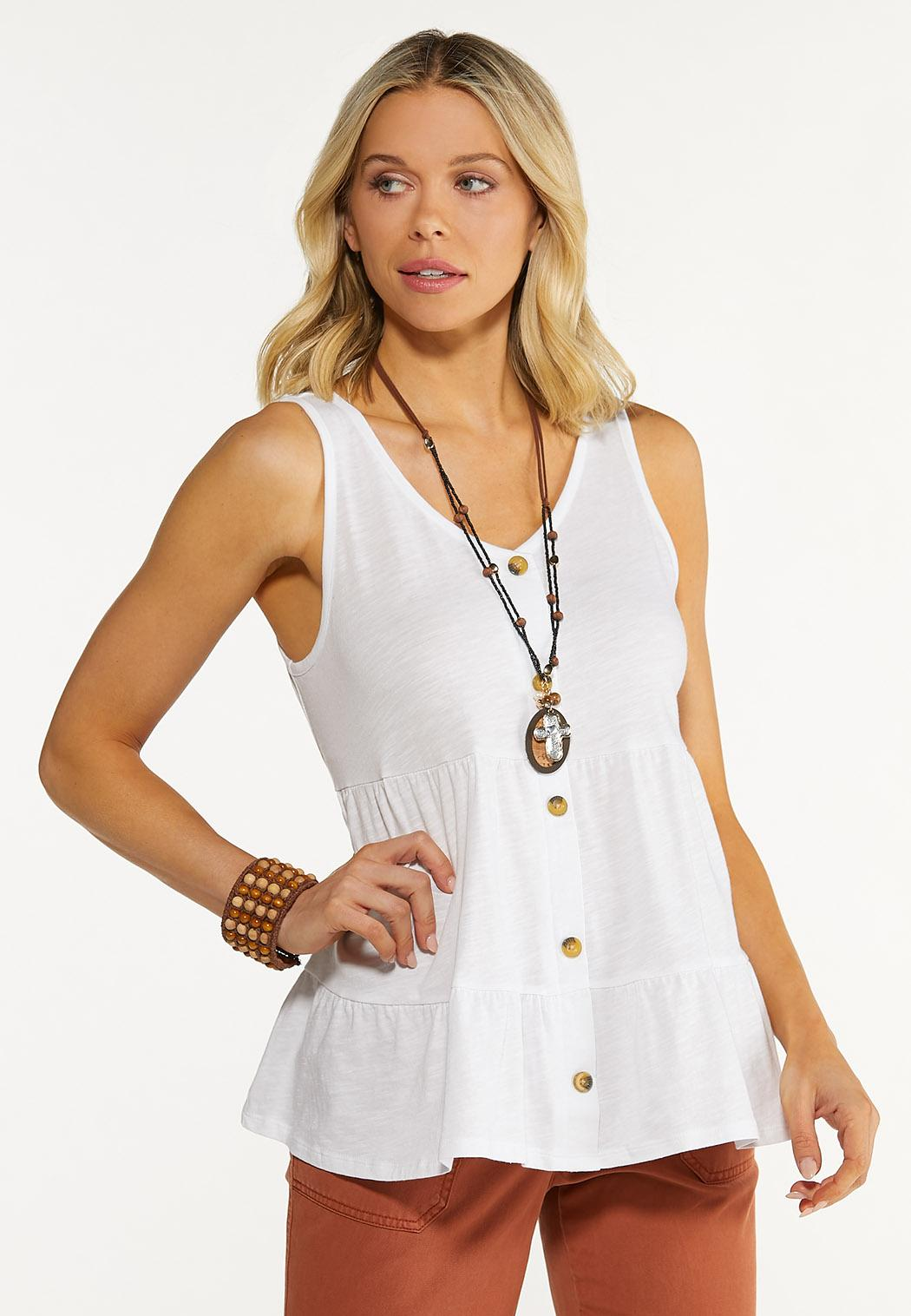 Plus Size Tiered Button Tank