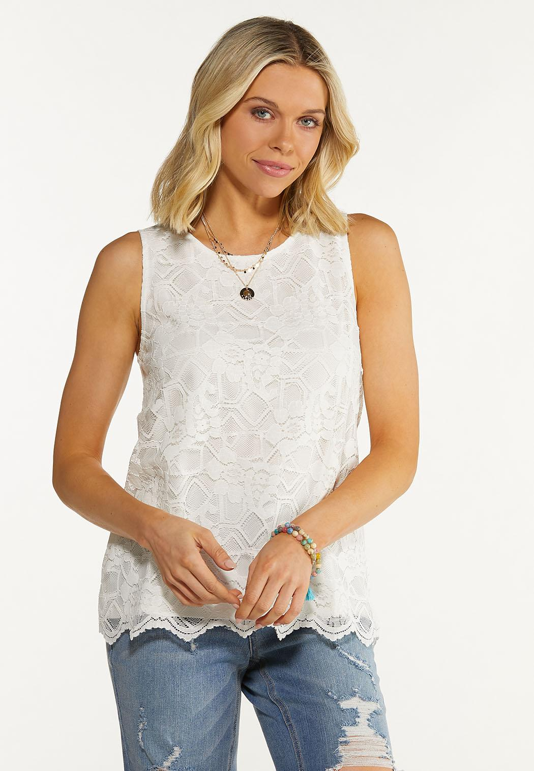 Plus Size Ivory Lace Top