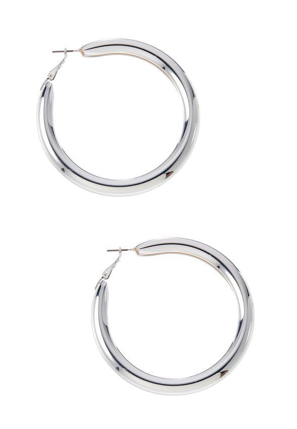 Silver Tube Hoop Earrings