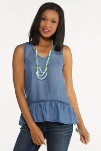 Plus Size Chambray Peplum Tank