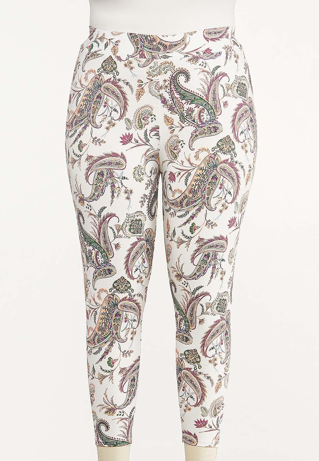 Plus Size Cropped Paisley Leggings