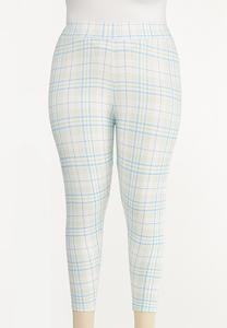 Plus Size Cropped Plaid Leggings
