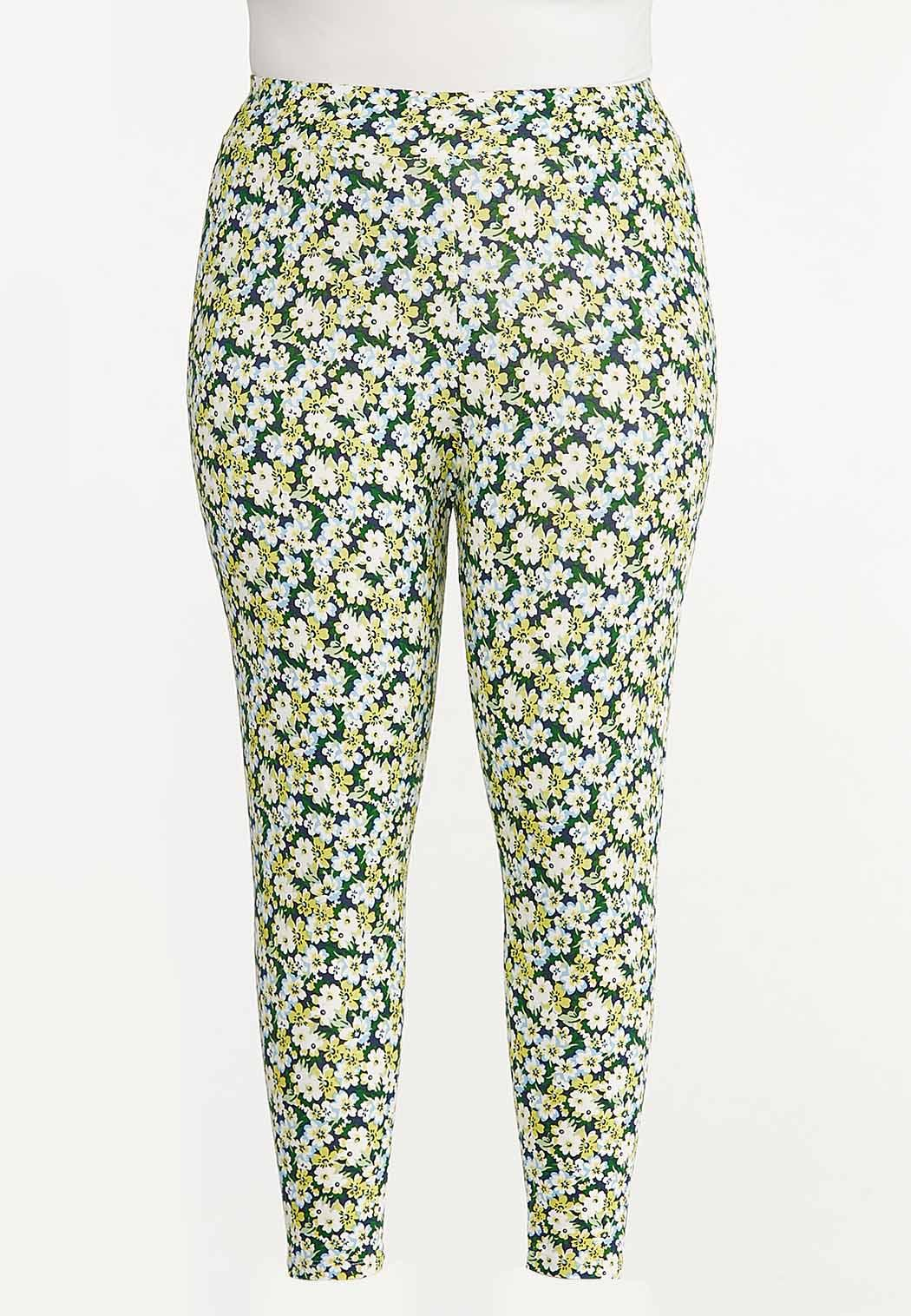 Plus Size Cropped Spring Floral Leggings