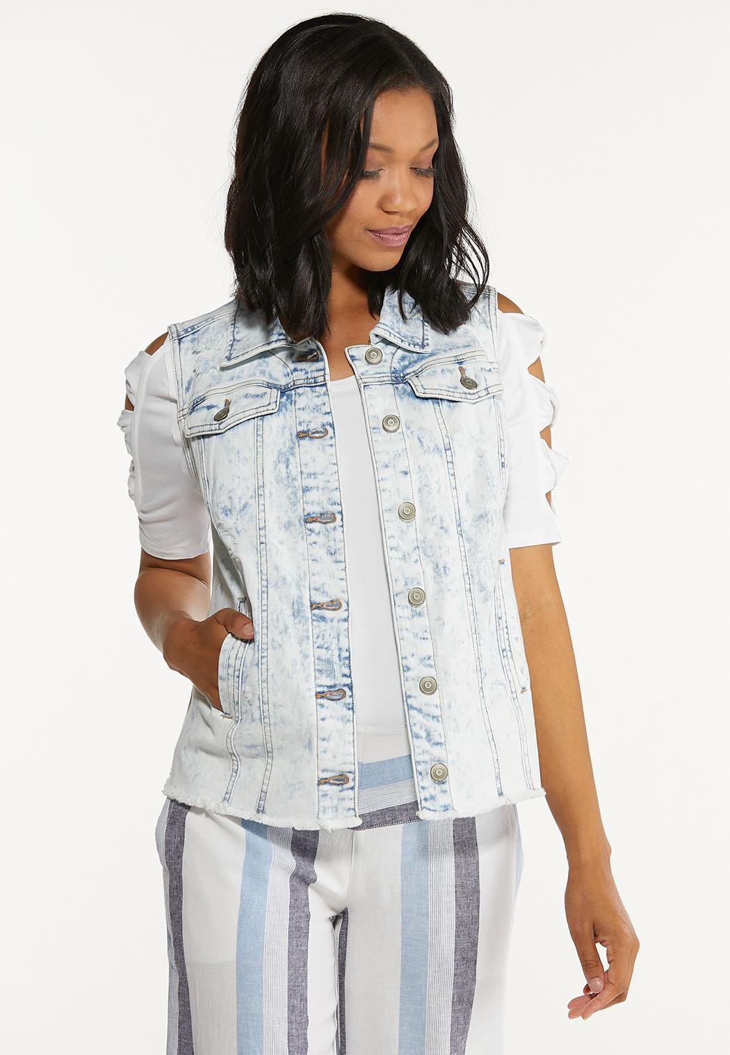 Plus Size Destructed Denim Vest