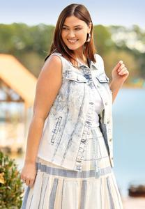 Plus Size Destructed Denim Vest