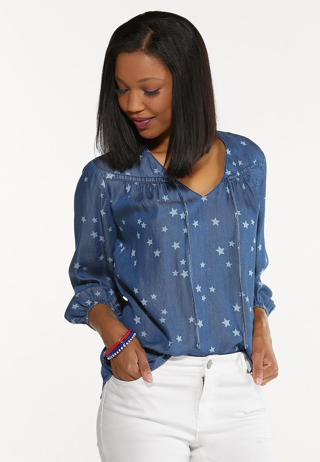 Plus Size Chambray Star Poet Top