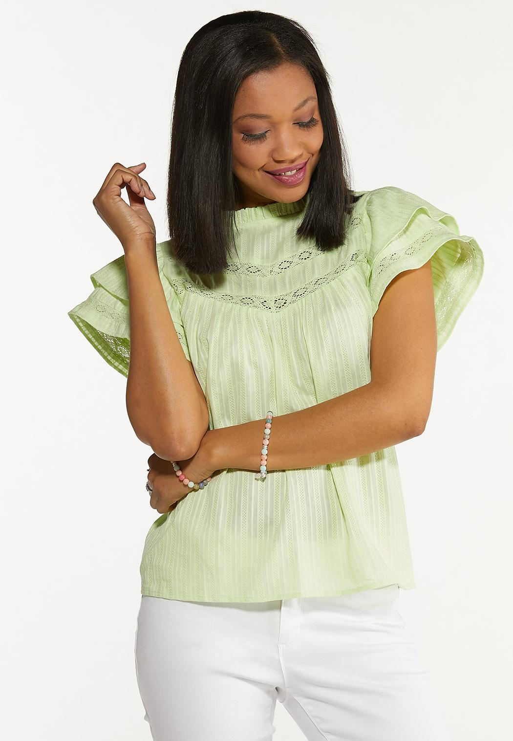 Plus Size Lime Ruffled Sleeve Top