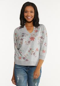Gray Floral Sweatshirt