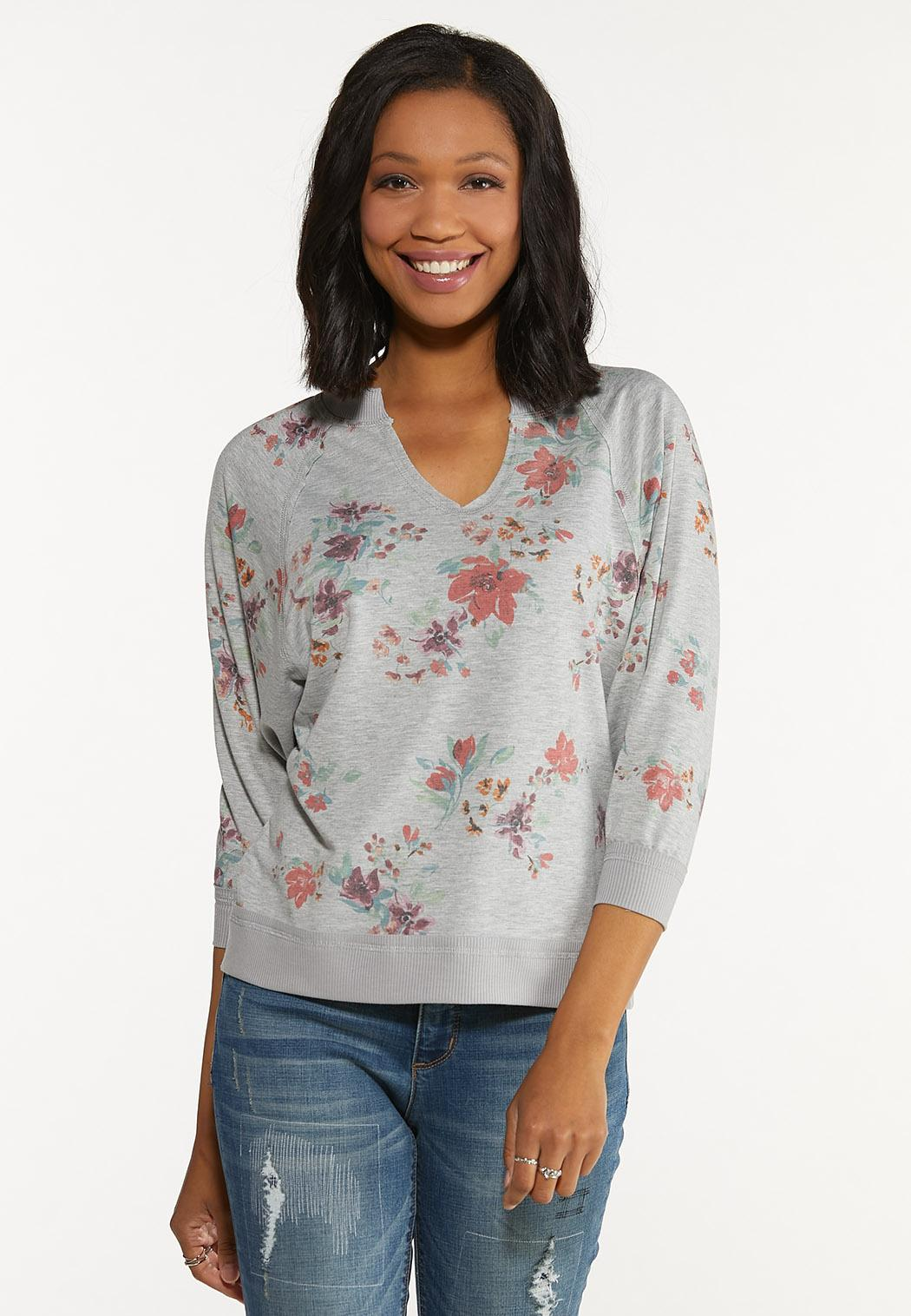 Plus Size Gray Floral Sweatshirt