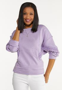 Violet Lace Trim Sweatshirt