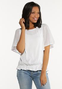 Plus Size White Angel Sleeve Top