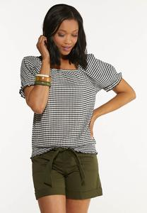 Plus Size Gingham Puff Sleeve Top