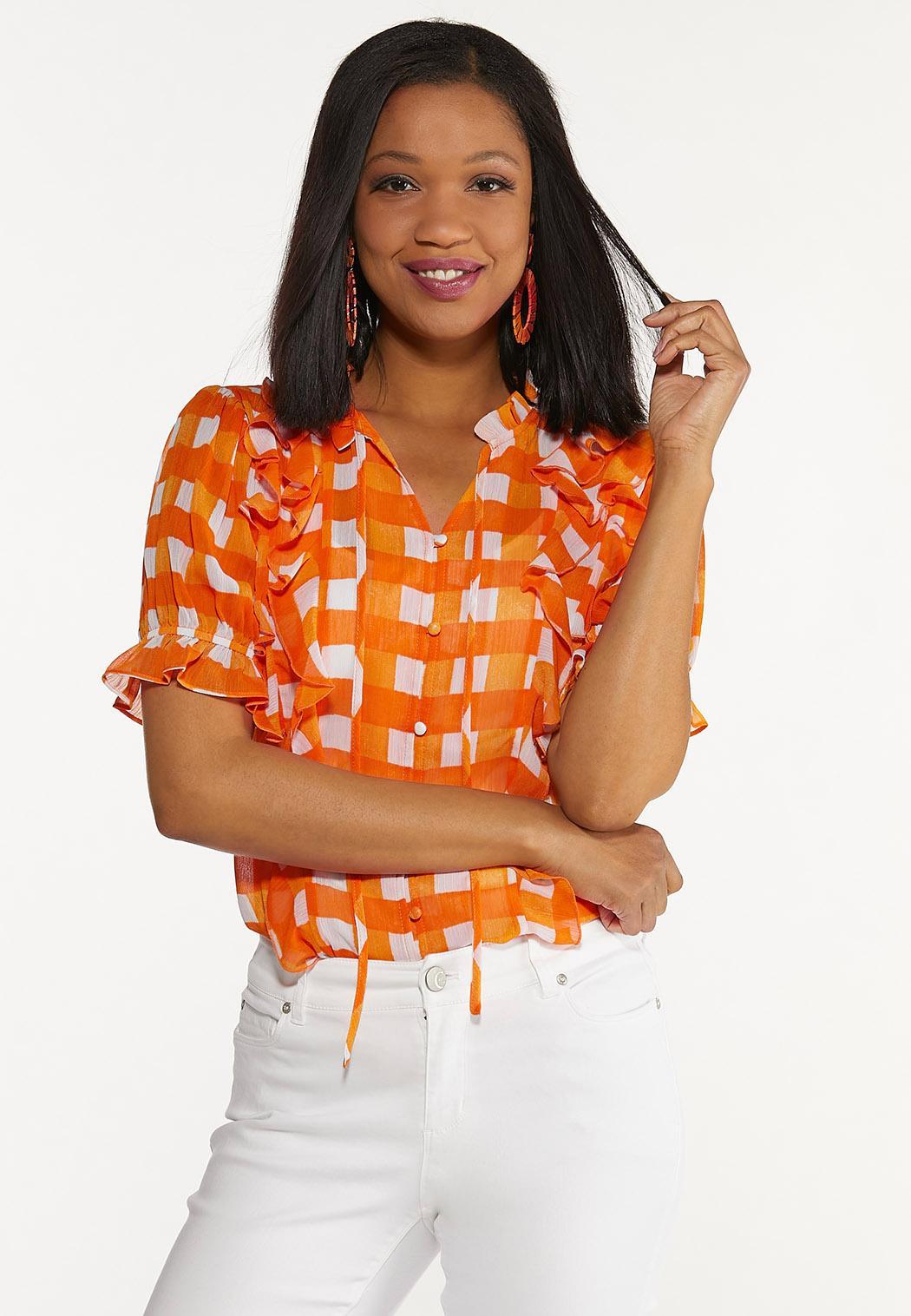 Orange Checkered Top