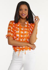 Plus Size Orange Checkered Top