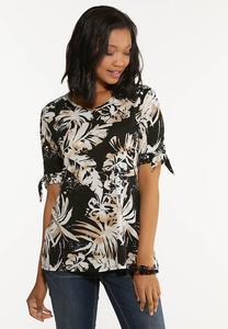 Plus Size Tie Sleeve Leaf Top