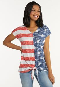 Plus Size Stars And Stripes Knotted Tee