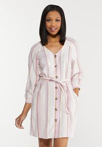 Plus Size Striped Linen Dress