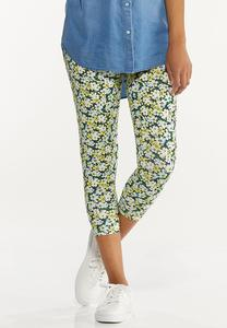 Cropped Spring Floral Leggings