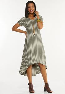 Plus Size Green Striped Midi Dress