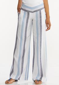 Striped Linen Palazzo Pants