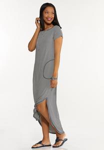 Plus Size Striped Tee Maxi Dress