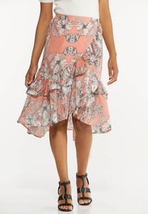 Ruffled Sketch Floral Midi Skirt