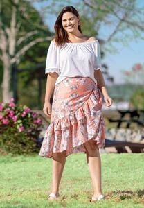 Plus Size Ruffled Sketch Floral Midi Skirt