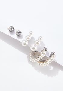Pearl Stone Earring Set