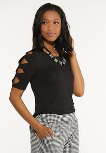 Plus Size Twist Cutout Sleeve Top