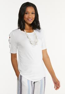 Plus Size Twist Cutout Sleeve Top