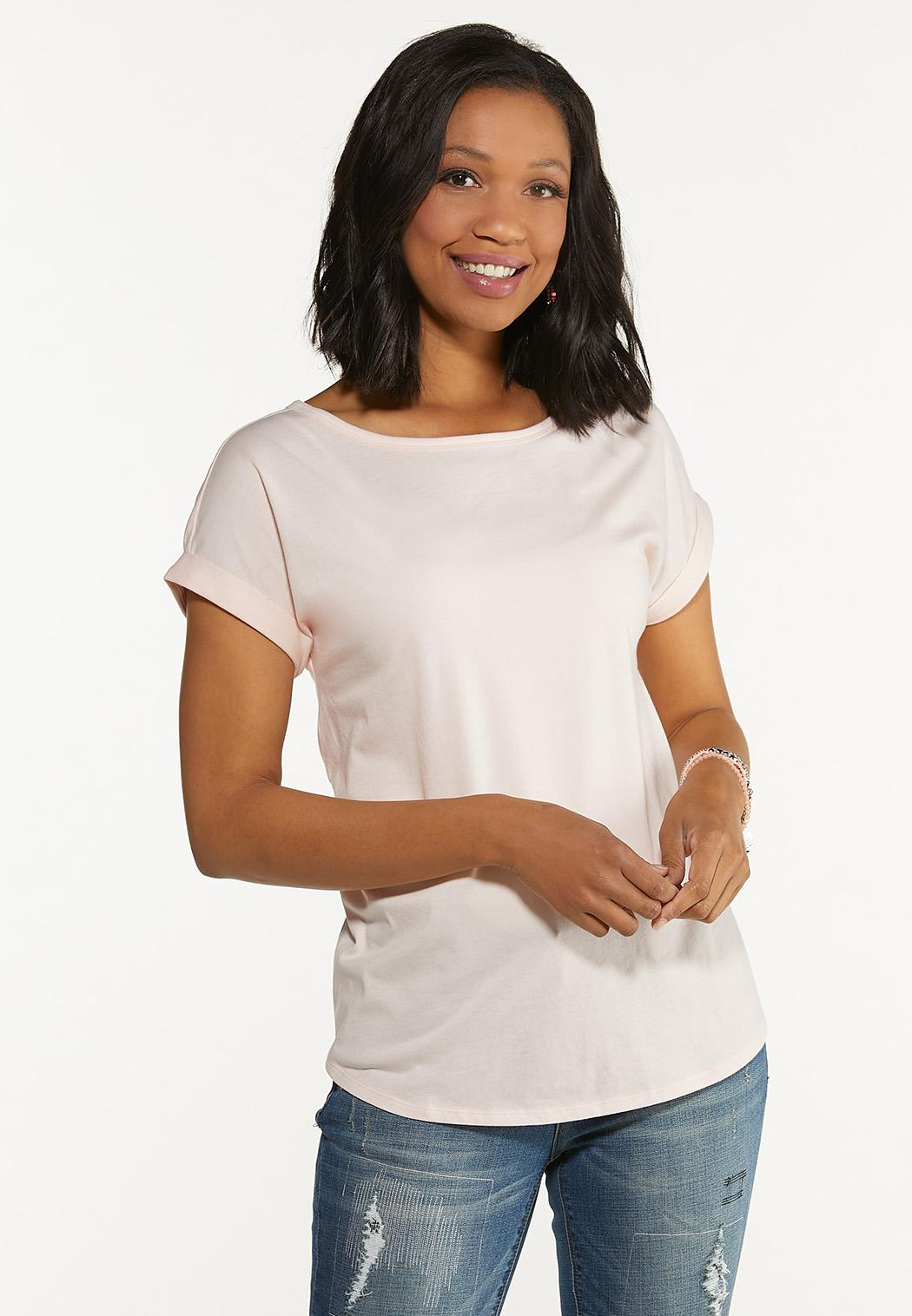 Plus Size Solid Rolled Cuff Tee